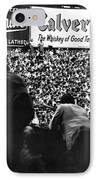 Fans In The Bleachers During A Baseball Game At Yankee Stadium IPhone Case by Underwood Archives