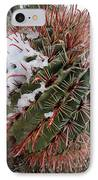 Fish Hook Barrel Cactus With Snow IPhone Case by Susan  Degginger