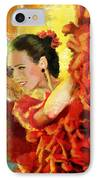 Flamenco Dancer 027 IPhone Case by Catf