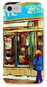 Fleuriste Notre Dame Flower Shop Paintings Carole Spandau Winter Scenes IPhone Case by Carole Spandau
