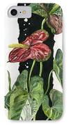 Flower Anthurium 01 Elena Yakubovich IPhone Case by Elena Yakubovich