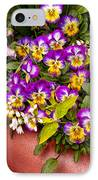 Flower - Pansy - Purple Posies  IPhone Case by Mike Savad