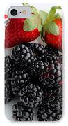 Fruit Iv - Strawberries - Blackberries IPhone Case by Barbara Griffin