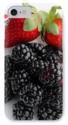Fruit Iv - Strawberries - Blackberries IPhone Case by Barbara Griffin