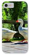 Geese Strolling In The Garden IPhone Case by Tracie Kaska