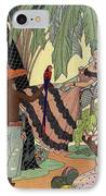 George Barbier. Spanish Lady In Hammoc With Parrot.  IPhone Case