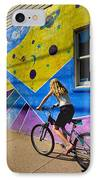 Girl Rides Bicycle Past Mural On The South Side Of Pittsburgh IPhone Case by Amy Cicconi