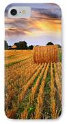 Golden Sunset Over Farm Field In Ontario IPhone Case