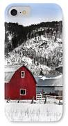 Great Canadian Red Barn In Winter IPhone Case by Peter v Quenter