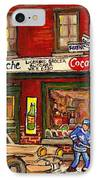 H. Piche Grocery - Goosevillage -paintings Of Montreal History- Neighborhood Boys Play Street Hockey IPhone Case by Carole Spandau