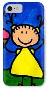 Happi Arte 3 - Little Girl Ice Cream Cone Art IPhone Case by Sharon Cummings