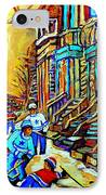 Hockey Art Montreal Winter Scene Winding Staircases Kids Playing Street Hockey Painting  IPhone Case by Carole Spandau