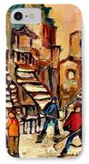 Hockey Game Near Winding Staircases Montreal Streetscene IPhone Case by Carole Spandau