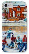 Hockey Rink At Van Horne Montreal IPhone Case by Carole Spandau