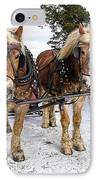 Horse Drawn Sleigh IPhone Case by Edward Fielding