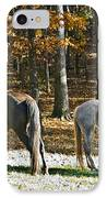 Horses In Autumn Pasture   IPhone Case by Susan Leggett