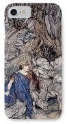 In The Forked Glen Into Which He Slipped At Night-fall He Was Surrounded By Giant Toads IPhone Case by Arthur Rackham