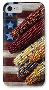 Indian Corn On American Flag IPhone Case by Garry Gay