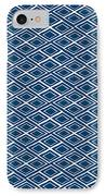 Indigo And White Small Diamonds- Pattern IPhone Case by Linda Woods