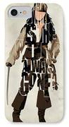 Jack Sparrow Inspired Pirates Of The Caribbean Typographic Poster IPhone Case by Ayse Deniz