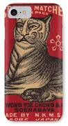 Japanese Matchbox Label With Tiger IPhone Case by Nop Briex