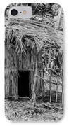 Jungle Hut In A Tropical Rainforest - Black And White IPhone Case