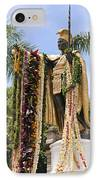 Kamehameha Covered In Leis IPhone Case by Brandon Tabiolo