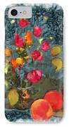 Kitchen - Peaches And Wine Painting  IPhone Case by Liane Wright
