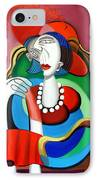 Lady With A Red Hat IPhone Case by Anthony Falbo