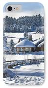Lake House In Snow IPhone Case
