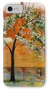 Landscape Art Scenic Tree Tangerine Sky IPhone Case by Blenda Studio