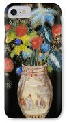 Large Bouquet On A Black Background IPhone Case by Odilon Redon