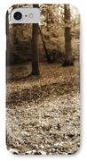 Leafy Autumn Woodland In Sepia IPhone Case