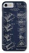Lego Toy Building Blocks Patent - Navy Blue IPhone Case by Aged Pixel