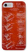 Lego Toy Building Blocks Patent - Red IPhone Case
