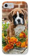 little Boxer Puppy in flowers IPhone Case by Doreen Zorn