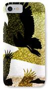 Magpie Geese In Flight IPhone Case by Holly Kempe