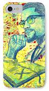 Malcolm X Drawing In Lines IPhone Case by Pierre Louis