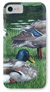 Mallards On River Bank IPhone Case by Martin Davey