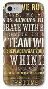 Man Cave Rules 2 IPhone Case by Debbie DeWitt