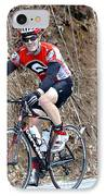 Man Riding Bike In A Race IPhone Case by Susan Leggett