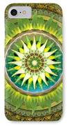 Mandala Green IPhone Case by Bedros Awak