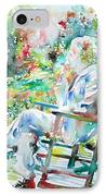 Mark Twain Sitting And Smoking A Cigar - Watercolor Portrait IPhone Case by Fabrizio Cassetta