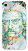 Mark Twain - Watercolor Portrait IPhone Case by Fabrizio Cassetta