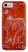 Mechanical Horse Patent Drawing From 1893 - Red IPhone Case
