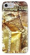 Merry Christmas Gold IPhone Case by Mo T