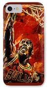 Michael Jordan IPhone Case by Maria Arango