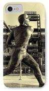 Mike Schmidt At Bat IPhone Case by Bill Cannon