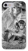 Mother And Baby Monkey Black And White IPhone Case
