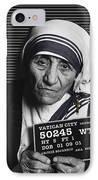 Mother Teresa Mug Shot IPhone Case by Tony Rubino